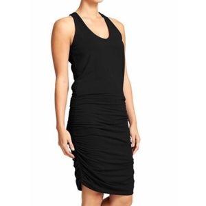 Athleta black ruched racerback v-neck tank dress